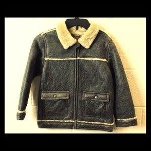 JANIE & JACK Boys Brown Leather Shearing Jacket-6